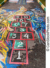 Hopscotch Court - schoolyard Hopscotch court drawn by chalk...