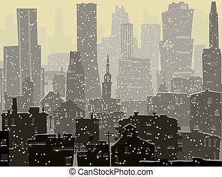 Abstract big snowy city. - Vector abstract illustration of...