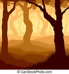 Square illustration within forest - Vector illustration of...