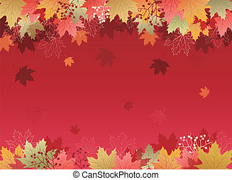 Autumn Maple leaves background.File contains Clipping mask...