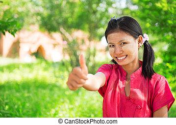 Myanmar girl thumb up