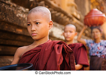 Southeast Asian young Buddhist monks walking morning alms in...