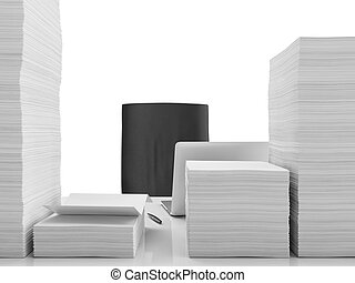 Office table with documents isolated on a white background