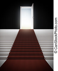 Stair with illuminated door isolated on a black background