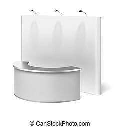 blank trade show booth isolated on a white background