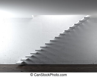 white stair steps near a wall. 3d render