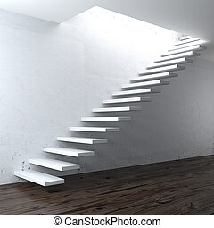 white concrete stair near a wall. 3d render