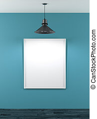 blank frame in blue room with ceiling lamp - blank frame in...