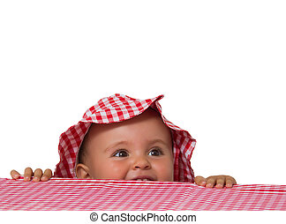 baby portrait with hat and checkered tablecloth
