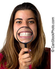 girl with magnifier - portrait of a girl with magnifier