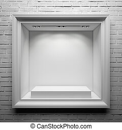 showcase with white stand and frame on the brick wall