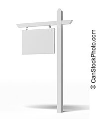 Blank For sale sign  isolated on a white background
