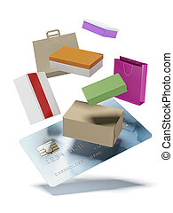 shopping by credit card isolated on a white background