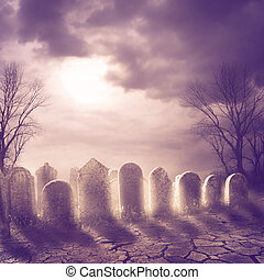 Graveyard - Spooky graveyard and moonlight