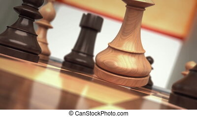 Checkmate, the fall of chess king. beautiful 3d animation,...