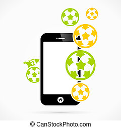Soccer mobile phone applications vector illustration