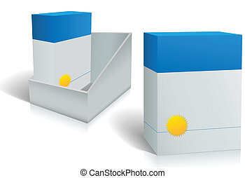 Two software product boxes in open box design - Boxes of...