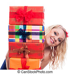 Happy woman with presents