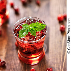 cranberry cocktail with mint garnish