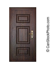 Door - Brown wood door isolated included clipping path