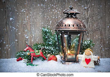 Christmas lantern in the snow - Christmas background with...