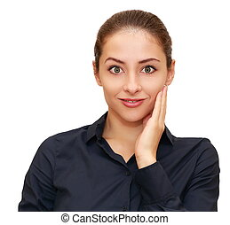 Beautiful surprising business woman looking funny isolated...