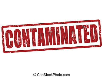 Contaminated stamp - Contaminated red grunge rubber stamp,...