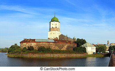 old sweden castle on island in vyborg russia - panorama
