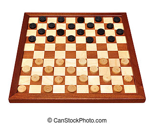 checkerboard with checkers spaced - wooden checkerboard with...