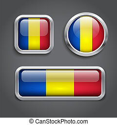 Chad flag glass buttons - Set of Chad flag glass buttons
