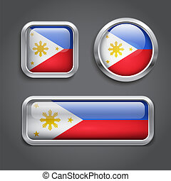 Philippines flag glass buttons - Set of Philippines flag...