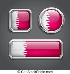 Qatar flag glass buttons - Set of Qatar flag glass buttons