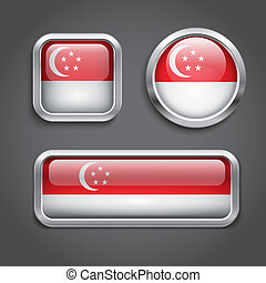 Singapore  flag glass buttons