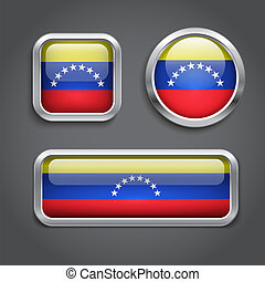 Venezuela  flag glass buttons