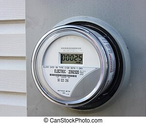 Electrical usage meter on a residential home.