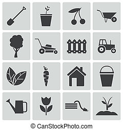 Vector black  gardening icons set