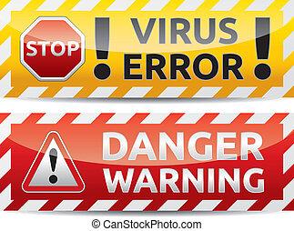 Virus warning banner - Danger virus warning and danger...