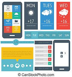 UI flat design, web elements
