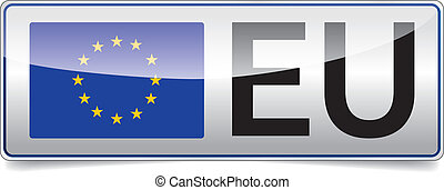 EU flag - European union flag board with black EU text