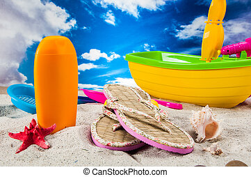 Sunny composition of beach stuff