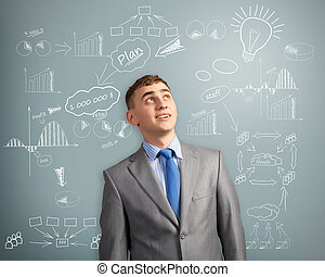 businessman thinking about innovation in business -...