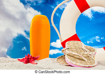 Sunny composition of beach stuff - Holiday concept