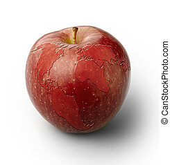 Red apple with world map, isolated with clipping path