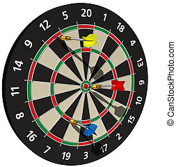 Darts on Target - darts at a target - game - 3d render