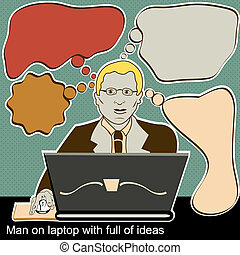 man on laptop with full of ideas - Illustration of man on...