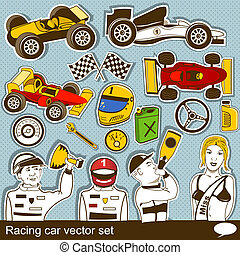 racing car vector set - collection of different racing car...