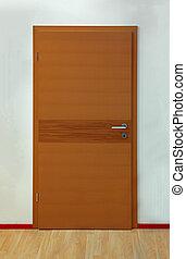 Brown door - Closed interior brown door with silver handle