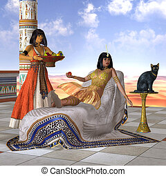 Egyptian Cleopatra - A servant girl brings Cleopatra some...