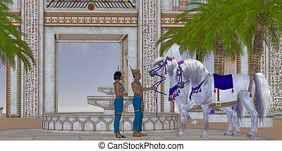 Egyptian Horses - An Egyptian Pharaoh takes pleasure in his...