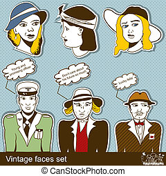 vintage faces set - collection of vintage faces set over...